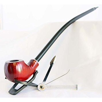 Gstar Long Pear Wood Churchwarden Tobacco Pipe with Cleaning Tool Kit and Gift Box
