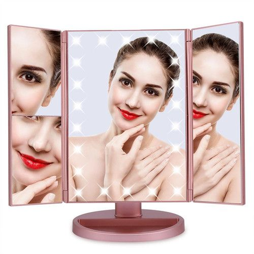 EECOO 22 Led Cosmetic Mirror,High-definition 180° Rotatable Mirror,Portable Touch Switch Panel Vanity Mirror,Brightness Adjustable Desktop Vanity Mirror Desktop Vanity Mirror