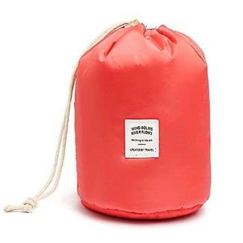 Okdeals Barrel Shaped Travel Toiletry Cosmetic Bag, Waterproof Makeup Drawstring Bag With Small Pouch and Clear PVC Brush Bag (Red)