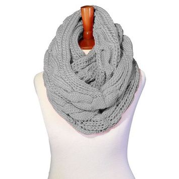 Basico - Basico Winter Chunky Knitted Infinity Scarf Circle Loop Various Colors (SF1603) [name: actual_color value: actual_color-h.gray]