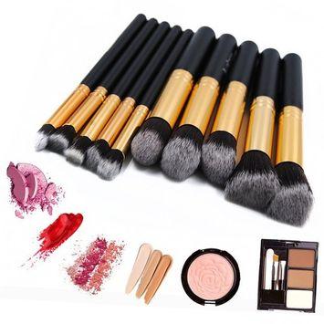 Makeup Brush Set, Foundation Makeup Brushes Synthetic Kabuki Cosmetics Foundation Blending Brush Eyeliner Face Powder Brush Makeup Brush Kit 10pcs, Black