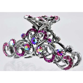 Women's Rhinestone Metal Claw Hair Clip Antique Silver, Pink