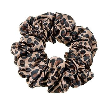 Great Quality Regular Soft Satin Hairband / Hair Scrunchy / Ponytail Holder / Elastic Band With Leopard Pattern In Black And Beige Colors By VAGA