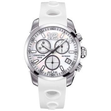 Certina Men's DS Rookie 40mm White Rubber Band Steel Case Quartz MOP Dial Analog Watch C016.417.17.117.00