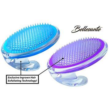 Bellesante Ingrown Hair and Razor Bump Treatment- 3 PCS-Travel Kit - Purple and Blue- Fine Bristle Brush to Prevent, Remove, Exfoliate, and Treat Pseudofolliculitis barbae - Men and Women