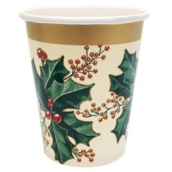 Creative Converting 52568 25 Count Winter Holly Paper Cups, 9-Ounce