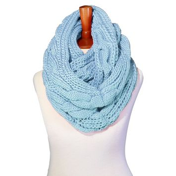 Basico - Basico Winter Chunky Knitted Infinity Scarf Circle Loop Various Colors (SF1603) [name: actual_color value: actual_color-b.blue]