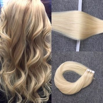 REYSAINA Tape Human Hair Extensions Bleach Blonde Color #613 Straight Remy Hair Seamless Skin Weft Real Hair Tape in Extensions Blonde 20pcs/40g []