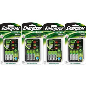 4 Pack Energizer Value Charger with AA Rechargeable NiMH Batteries CHVCMWB-4