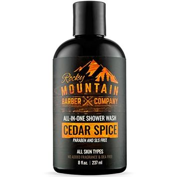 All-in-One Shower Wash for Men – Shampoo, Body Wash, Conditioner, Face Wash & Beard Wash – Natural Ingredients with Essential Oils – Paraben, SLS & DEA Free – Cedar Spice Scent – 8oz