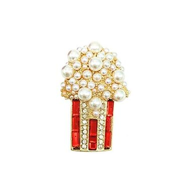 Sunvy Popcorn Brooch Pin Charm Pearl Enamel Lapel Pins Badge Sweater Clothes Bag Accessory Graduation Gift
