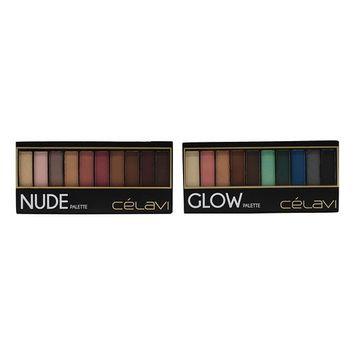 Celavi Eye Shadow Compact Palette w/ Built in Mirror and Dual Headed Sponge Applicator (2 Palettes - Glow & Nude)
