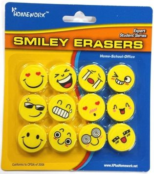 A+ Homework SMILEY ERASERS (Pack of 48)
