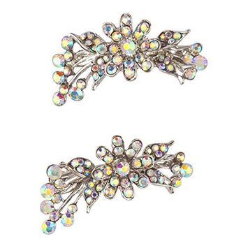 Lux Accessories Xmas Christmas Holiday Silver Tone Floral Crystals Faux Rhinestones Pair Hair Clips