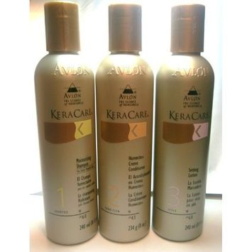 KeraCare Setting Lotion 8 oz, KeraCare Humecto Cream Conditioner 8 oz, KeraCare Moisturizing Shampoo for Color Treated Hair 8 oz - 3 Set by Avlon