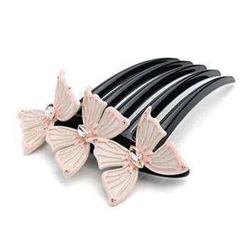 CHIMERA Elegant Hair Side Comb Durable Cellulose Acetate Butterfly Shiny Crystal Hair Pins Comb Veil Comb for Women Apricot