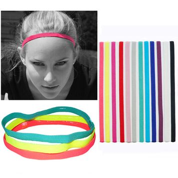 Girl12Queen Women's Men's Candy Color Sports Running Anti-Slip Elastic Headband Hair Band