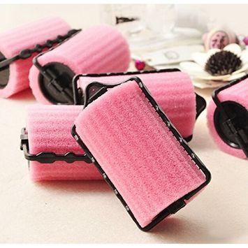 8 pcs DIY Natural Curly Hair Helper Pink Sponge Hair Styler Curler Roller Self Lock Hold for Lady Beauty Use Tools AOSTEK(TM)