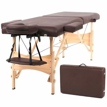 Massage Table Massage Bed Spa Bed 73 Inch Portable 2 Folding W/Carry Case Table Heigh Adjustable Salon Bed Face Cradle Bed