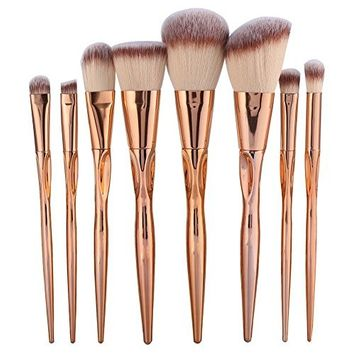 8pcs Metal Makeup Brushes Set Cosmetic Face Foundation Power Eyeshadow
