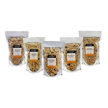 Grandma Emily Organic Granola Cereal 5 x 11.64 Ounce Packs. Assorted Flavours. Delicious Healthy Vegan Snack With All-Natural Ingredients