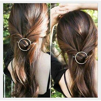 Joyci 1Pcs Creative Hoop Round Ponytail Holder Women's Geometric Metal Hair Pin