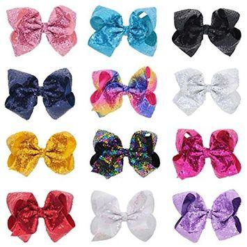 Glitter Hair Bows Clips, 12 Pcs 8