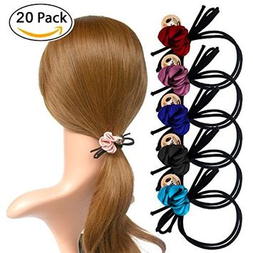 Fashion & Lifestyle 20 Pack Large Hair Ties Ponytail Holders - Korean Stretchy Elastic Hair Ropes Boutique Bowknot Bands for Girls Women and Ladies, Assorted Color