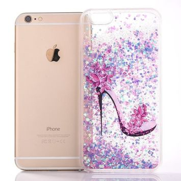 UCLL iPhone 7 Glitter Case, iPhone 7 Liquid Case,High Heeled Moving Bling Glitter Floating Cover for iPhone 7 with a Screen Protector