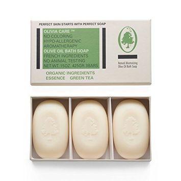 Olivia Care Natural Olive Oil Green Tea Bath Soap Set of 3 Bars - 15 oz