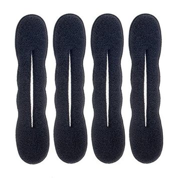 Set of 4 Foam / Sponge Magic Hair Buns Holders / DIY Updos Makers / Donuts / Doughnuts Twisters / Formers In Black For Hair Styling By VAGA