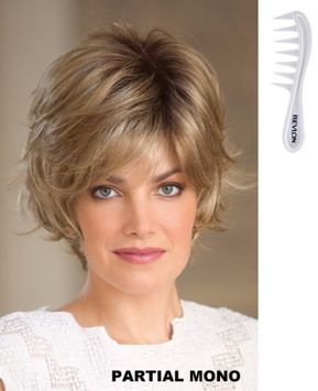 Sky Partial Monofilament Wig #1694N By Noriko for Rene of Paris, Bundle - 2 Items: Wig & Revlon Wig Lift Comb (Almond Rocka-R)