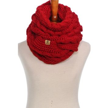Basico - Basico Women Winter Chunky Knitted Infinity Scarf Warm Cable Loop Various Colors [name: actual_color value: actual_color-braidsred]