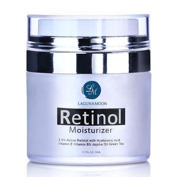 Lagunamoon Retinol Moisturizer Cream for Face and Eye with 2.5% Retinol and Hyaluronic Acid, Vitamin E and Green Tea,Anti Aging Day and Night Cream 1.7 OZ/50ML