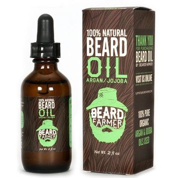 Beard Oil by Beard Farmer - All Natural Conditioner for Beard Growth, Unscented Organic Argan Oil and Jojoba Oil 2 Oz.