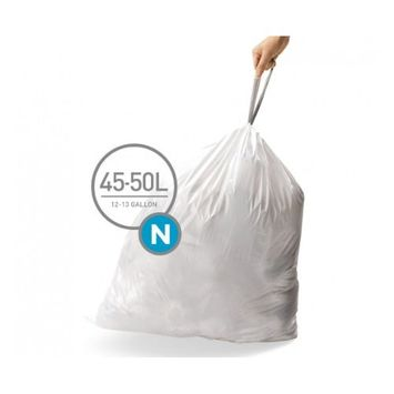 simplehuman Code N Custom Fit Drawstring Trash Bags, 45-50 Liter / 12-13 Gallon, 12 Refill Packs (240 Count)