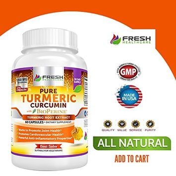 Turmeric Curcumin BioPerine Extremely Potent with 95% Curcuminoids Extract - 3 Month Supply For Maximum Anti Inflammatory Joint Support and Pain Relief - 180 Vegan Turmeric Powder Capsules Supplement