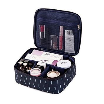 Large Travel Cosmetic Bag Toiletry Organizer Floral Makeup Pouch, Waterproof Case Hanging Organizer Bags Feather