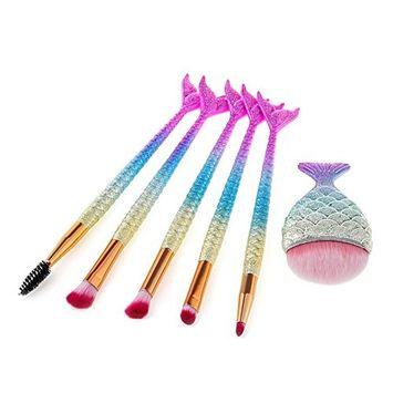 Mermaid Eye Brushes, Molie 6PCS Mermaid Makeup Brushes Set of Professional Foundation Blending Eyeshadow Eyebrow Eyelash Concealer Cosmetic Brushes Kit