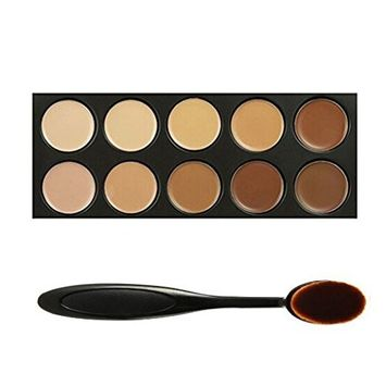 Chamberain 10 Colors Pro Cosmetics Cream Concealer Contour Makeup Palette Contouring and Highlighting Complete Coverage Camouflage Concealers Set Kit with Oval Make Up Brush