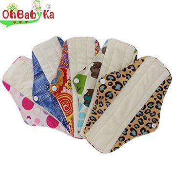 OHBABYKA Bamboo Reusable Sanitary Napkins Pads for Women (Multi-colored(5pcs))