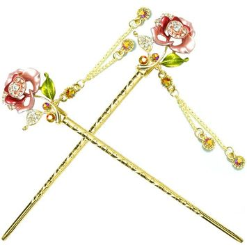 YOY Fashion Hair Decor Chinese Traditional Style Hair Sticks Shawl Pins Picks Pics Forks for Women Girls Hair Accessory 6-inch with Enamel Flower Set of 2, Pink