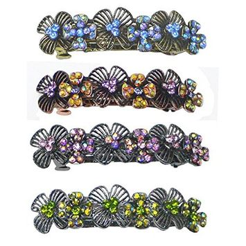Set of 4 Crystal Barrettes Decorated with Sparkling Aurore Boreale Crystals YY86800-4-4