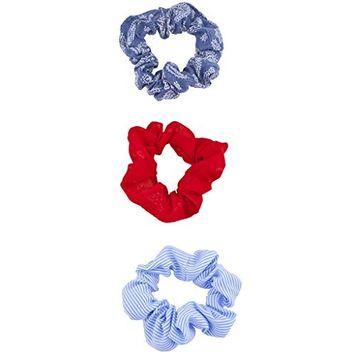 Lux Accessories Stripe Denim Cheerleader Hair Scrunchie PonyTail Holder 3pc