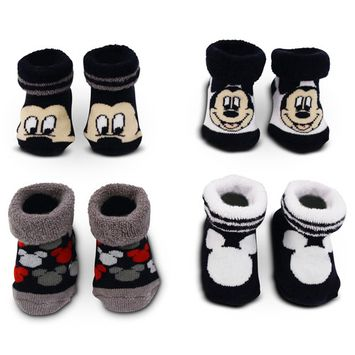 Disney Mickey Mouse 4 Pair Terry Booties Gift Set, Baby Boys, Age 0-12M