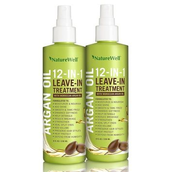 NatureWell 12-in-1 Leave-In Treatment Moroccan Argan Oil, 2 Pack