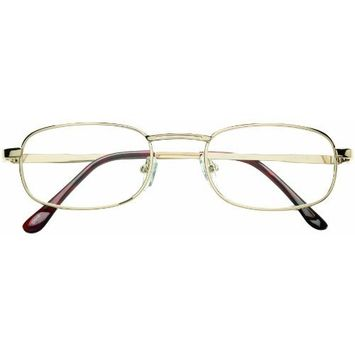 Dr. Dean Edell 1/2 Pocket Clip Reading Glasses, Gold Metal with Brown Temple Tips, 2.25, 0.200 Ounce