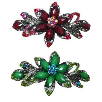 Set of 2 Flower Barrettes Decorated with Colorful Beads and Rhinestones U86012-0014coffee-off white