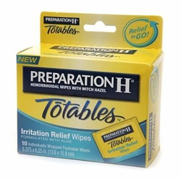 Preparation H Hemorrhoidal with Witch Hazel Wipes, Totables Irritation Relief, 10 Individual Wipes Personal Healthcare / Health Care