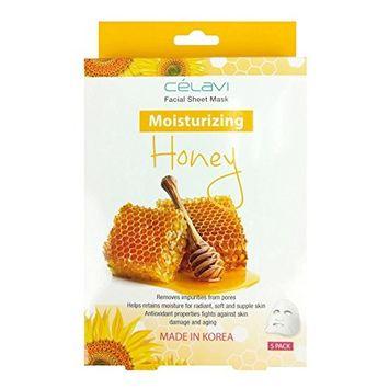 Célavi Essence Facial Mask Paper Sheet Korea Skin Care Moisturizing 5 Pack Box (Honey)